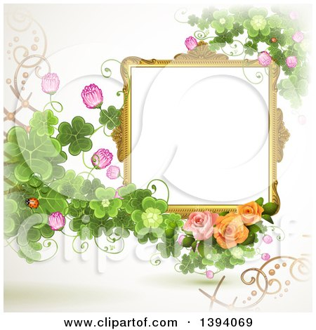 Clipart of a Blank Ornate Picture Frame with Text Space, Clovers and Roses - Royalty Free Vector Illustration by merlinul