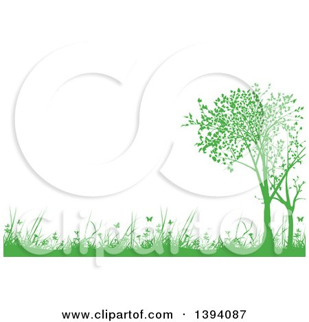 Clipart Of A Nature Background Of Green Silhouetted Trees Weeds Grass And Butterflies With Text Space Royalty Free Vector Illustration