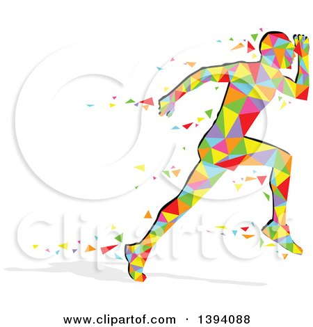 Clipart of a Colorful Abstract Getometric Man Running - Royalty Free Vector Illustration by dero