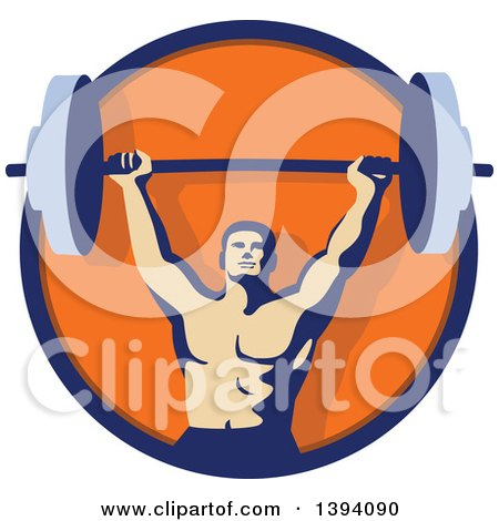 Clipart of a Retro Male Bodybuilder Holding a Heavy Barbell over His Head Inside a Blue and Orange Circle - Royalty Free Vector Illustration by patrimonio