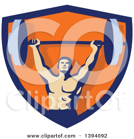 Clipart of a Retro Male Bodybuilder Holding a Heavy Barbell over His Head Inside a Blue and Orange Shield - Royalty Free Vector Illustration by patrimonio
