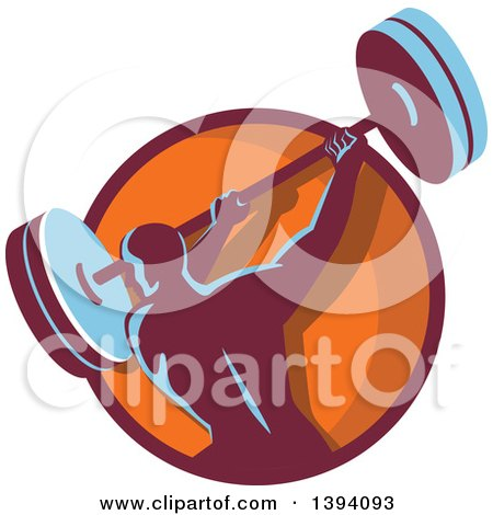 Clipart of a Retro Male Bodybuilder Swinging a Barbell in a Purple and Orange Circle - Royalty Free Vector Illustration by patrimonio