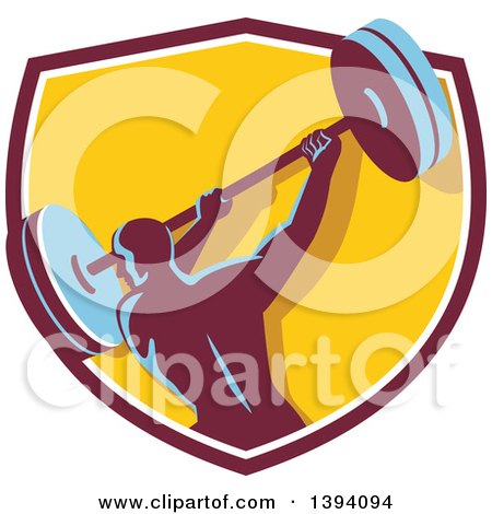 Clipart of a Retro Male Bodybuilder Swinging a Barbell in a Shield - Royalty Free Vector Illustration by patrimonio