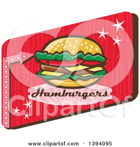 Clipart of a Retro 1950s Cheeseburger and Text in a Red Rectangle - Royalty Free Vector Illustration by patrimonio