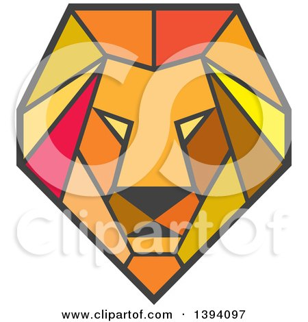 Clipart of a Retro Geometric Low Polygon Male Lion Head - Royalty Free Vector Illustration by patrimonio