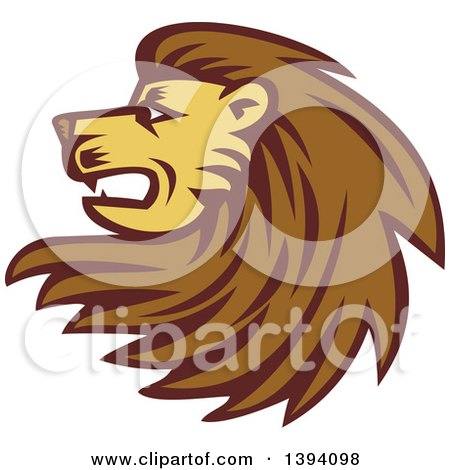 Clipart of a Retro Woodcut Male Lion Head with a Long Mane - Royalty Free Vector Illustration by patrimonio
