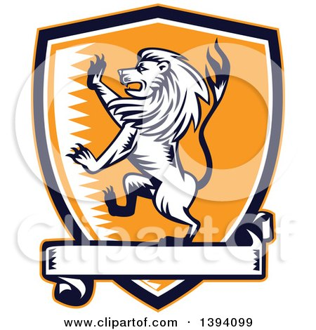 Clipart of a Retro Woodcut Rampant Lion in a Black White and Orange Shield with a Banner - Royalty Free Vector Illustration by patrimonio