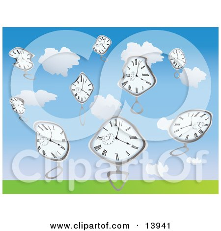 Warped Pocket Watches Falling From the Sky Clipart Illustration by Rasmussen Images