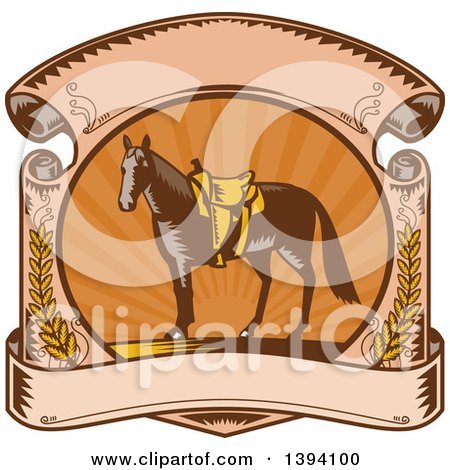 Clipart of a Retro Woodcut Horse with a Western Saddle in a Sunset Scroll - Royalty Free Vector Illustration by patrimonio