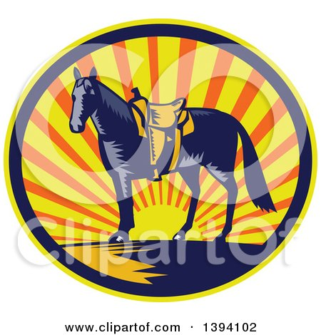 Clipart of a Retro Woodcut Horse with a Western Saddle in a Sunset Oval - Royalty Free Vector Illustration by patrimonio