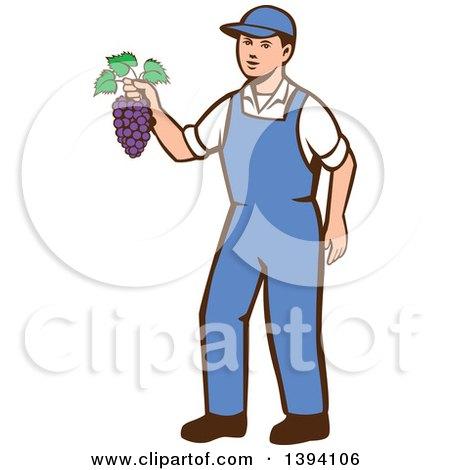 Clipart of a Retro Caucasian Farmer Boy Holding Purple Grapes - Royalty Free Vector Illustration by patrimonio