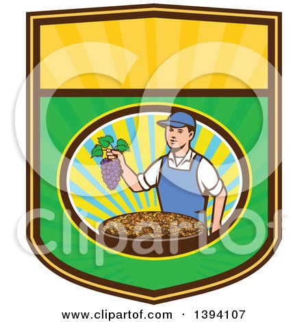 Clipart of a Retro Caucasian Farmer Boy Holding Purple Grapes over a Bowl of Raisins in a Sunny Oval on a Shield - Royalty Free Vector Illustration by patrimonio