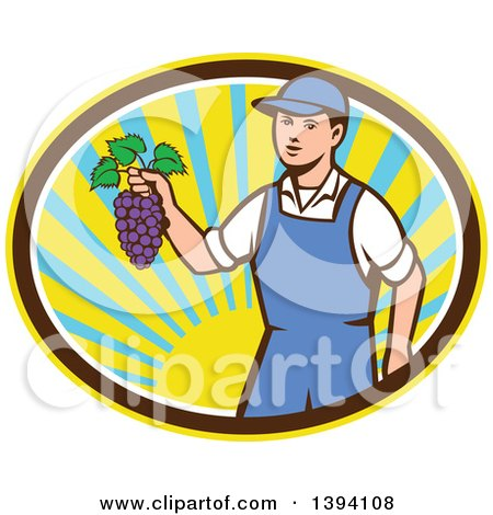 Clipart of a Retro Caucasian Farmer Boy Holding Purple Grapes in a Sunny Oval - Royalty Free Vector Illustration by patrimonio