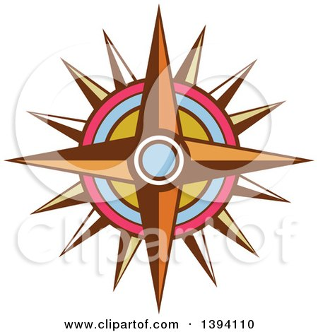 Clipart of a Retro Vintage Compass Rose - Royalty Free Vector Illustration by patrimonio