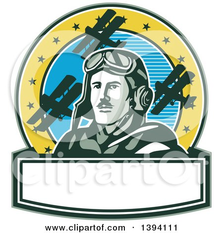Clipart of a Retro World War One Male Pilot Aviator Looking up over a Banner, on a Cricle with Blue Sky, Stars and Biplanes - Royalty Free Vector Illustration by patrimonio