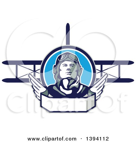 Clipart of a Retro World War One Male Pilot Aviator Looking up over a Wing Banner and Biplane - Royalty Free Vector Illustration by patrimonio
