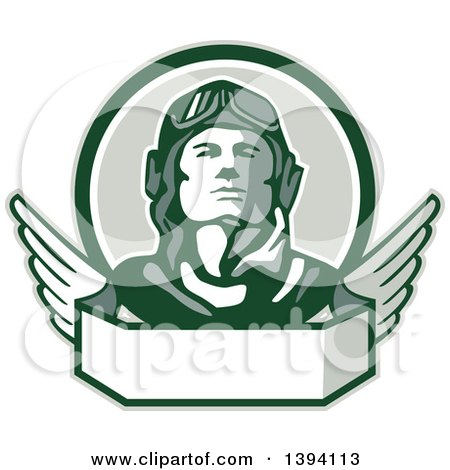 Clipart Of A Retro World War One Male Pilot Aviator Looking Up Over A Wing Banner Royalty Free Vector Illustration
