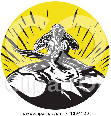 Clipart of a Retro Woodcut Samoan God Tagaloa Sending His Plover Bird Daughter down to the Earth to Populate - Royalty Free Vector Illustration by patrimonio
