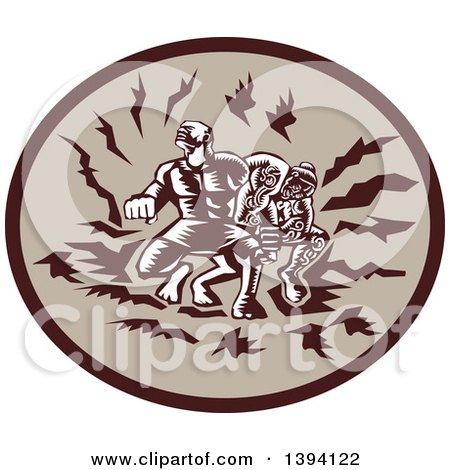 Clipart of a Retro Woodcut Samoan Tiitii Wrestling the God of Earthquake and Breaking His Arm, in a Brown Oval - Royalty Free Vector Illustration by patrimonio
