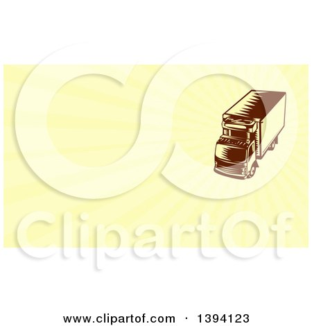 Clipart of a Retro Woodcut Brown and Yellow Refrigerated Big Rig Truck and Yellow Rays Background or Business Card Design - Royalty Free Illustration by patrimonio