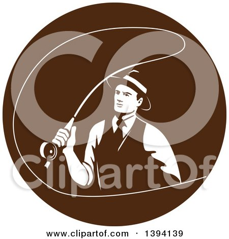 Clipart of a Retro Mobster Gangster Guy Fly Fishing in a Brown Circle - Royalty Free Vector Illustration by patrimonio
