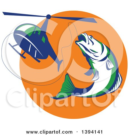 Clipart of a Retro White Green and Blue Barramundi Asian Sea Bass Fish Jumping and Swallowing a Fishing Line Attached to a Helicopter - Royalty Free Vector Illustration by patrimonio