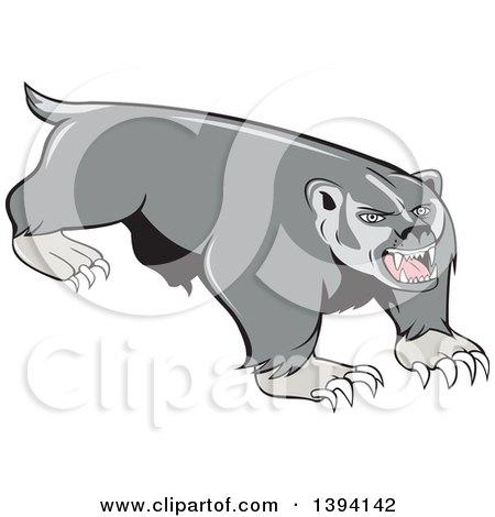 Clipart of a Cartoon Vicious Honey Badger Mascot - Royalty Free Vector Illustration by patrimonio