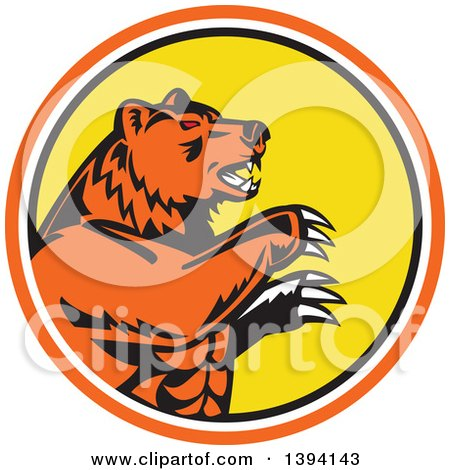 Clipart of a Retro California Grizzly Bear Attacking in an Orange White Black and Yellow Circle - Royalty Free Vector Illustration by patrimonio