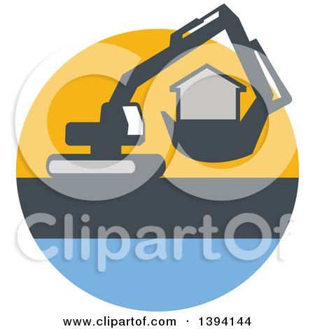Clipart of a Retro Mechanical Digger Machine Moving a House in a Yellow Gray and Blue Circle - Royalty Free Vector Illustration by patrimonio