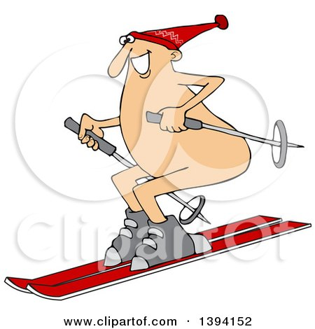 Clipart of a Cartoon Happy Caucasian Guy Skiing Naked - Royalty Free Vector Illustration by djart