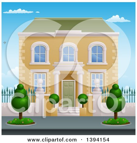 Clipart of a Georgian or Victorian House with Topiary Plants - Royalty Free Vector Illustration by AtStockIllustration