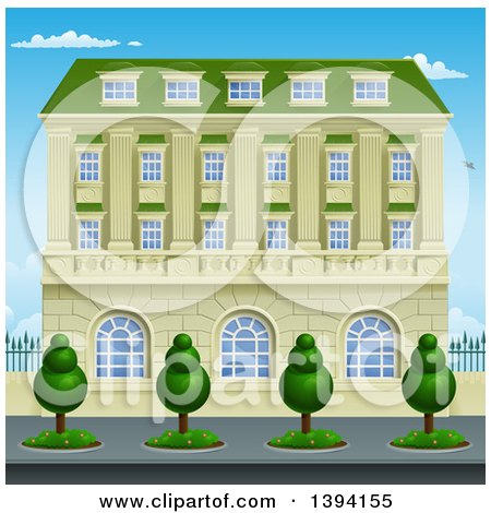 Clipart of a Victorian or Georgian Building or Mansion - Royalty Free Vector Illustration by AtStockIllustration