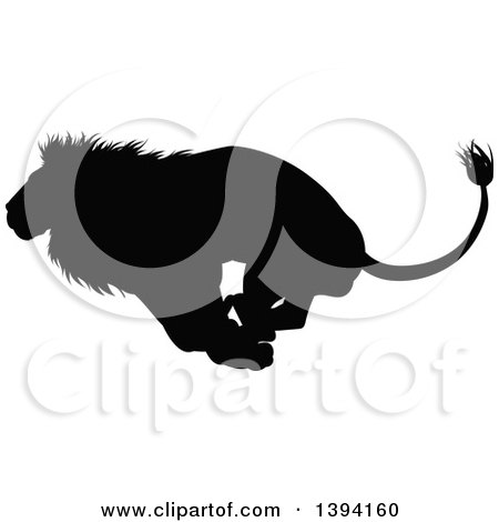 Clipart of a Black Silhouetted Male Lion Running - Royalty Free Vector Illustration by AtStockIllustration