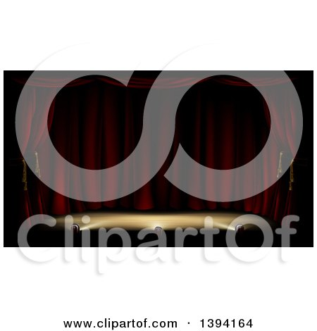 Clipart of a Dark and Deserted Theater Stage with Red Curtains and Foot Lights - Royalty Free Vector Illustration by AtStockIllustration