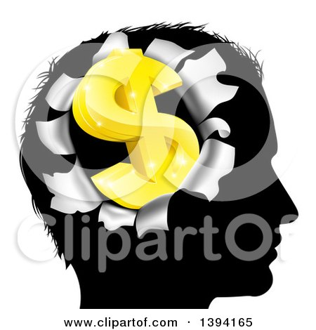 Clipart of a Black Silhouetted Man's Head with a 3d Gold Dollar Symbol Breaking Out, Thinking About Money - Royalty Free Vector Illustration by AtStockIllustration