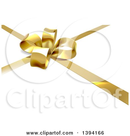 Clipart of a 3d Gold Christmas, Birthday or Other Holiday Bow and Ribbon on a Gift, over Shaded White - Royalty Free Vector Illustration by AtStockIllustration