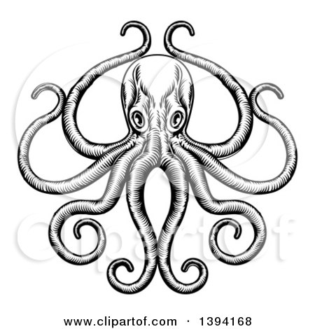 Clipart of a Black and White Retro Woodcut Octopus with Its Tentacles in an Ornate Pose - Royalty Free Vector Illustration by AtStockIllustration