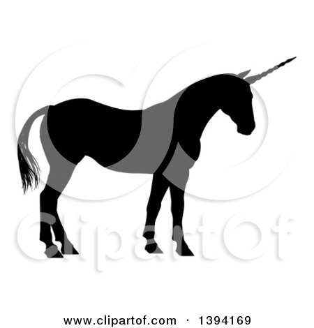 Clipart of a Black Silhouetted Mythical Unicorn Standing - Royalty Free Vector Illustration by AtStockIllustration