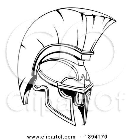 Clipart of a Black and White Lineart Spartan or Trojan Helmet - Royalty Free Vector Illustration by AtStockIllustration