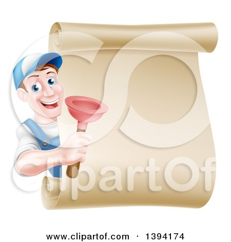Clipart of a Middle Aged Brunette White Male Plumber Wearing a Baseball Cap, Holding a Plunger Around a Scroll Sign - Royalty Free Vector Illustration by AtStockIllustration