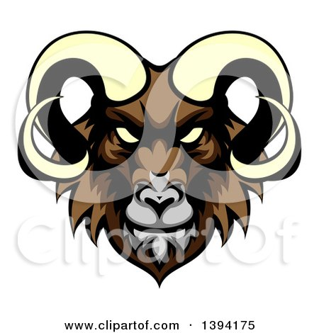 Clipart of a Cartoon Demonic Angry Ram Head Mascot - Royalty Free Vector Illustration by AtStockIllustration