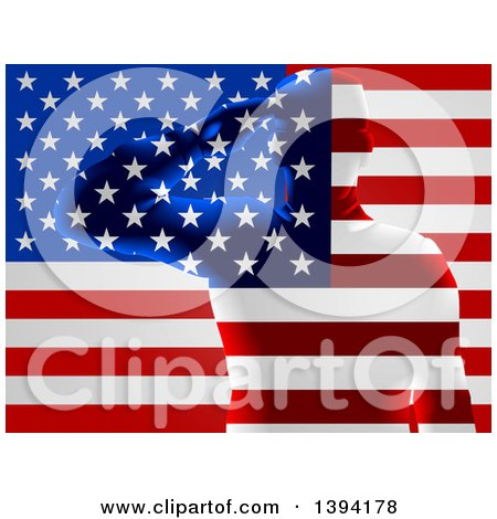 Clipart Of A Silhouetted Transparent Saluting Soldier Over An American Flag Royalty Free Vector Illustration
