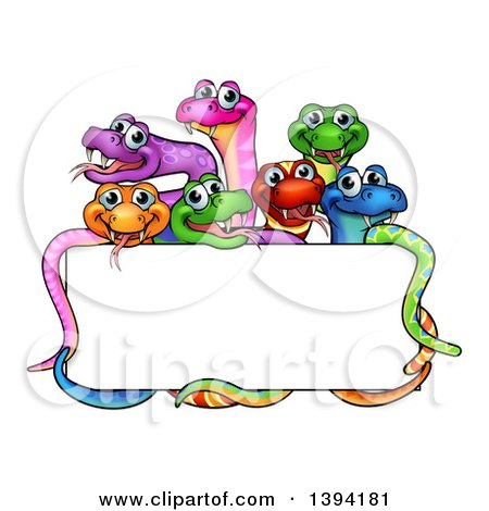 Clipart of a Cartoon Group of Colorful Happy Snakes Around a Blank Sign - Royalty Free Vector Illustration by AtStockIllustration