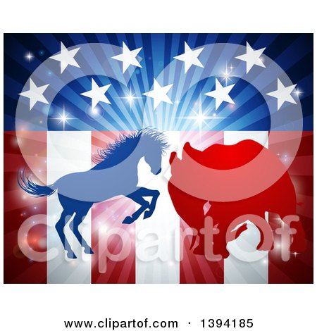 Clipart of a Silhouetted Political Aggressive Democratic Donkey or Horse and Republican Elephant Fighting over American Stars and Stripes and a Burst - Royalty Free Vector Illustration by AtStockIllustration