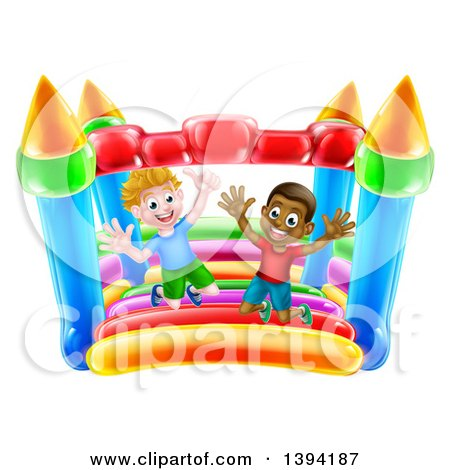 Clipart of Cartoon Happy White and Black Boys Jumping on a Bouncy House Castle - Royalty Free Vector Illustration by AtStockIllustration
