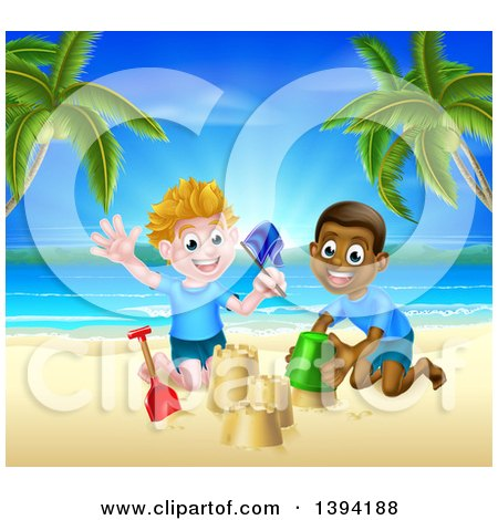 Clipart of Happy White and Black Boys Playing and Making Sand Castles on a Tropical Beach - Royalty Free Vector Illustration by AtStockIllustration