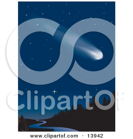 Fast Comet Shooting Through a Starry Night Sky Over a Creek Winding Through a Forest Clipart Illustration by Rasmussen Images