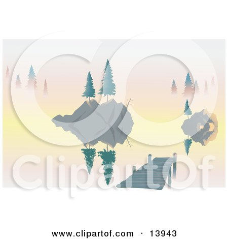 Trees on Islands and a Dock on a Lake at Dawn Clipart Illustration by Rasmussen Images