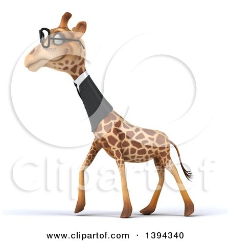 Clipart of a 3d Business Giraffe Wearing Glasses, on a White Background - Royalty Free Illustration by Julos