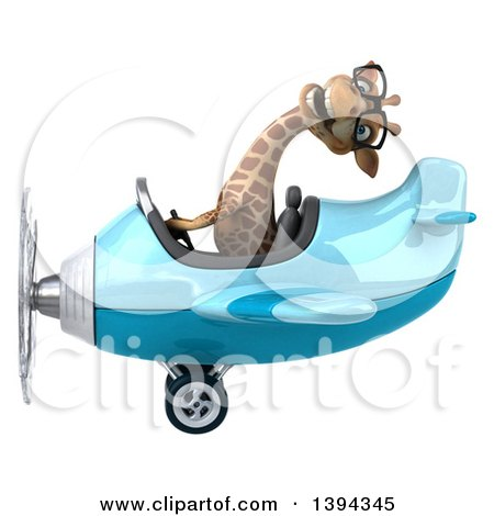 Clipart of a 3d Giraffe Flying an Airplane, on a White Background, on a White Background - Royalty Free Illustration by Julos